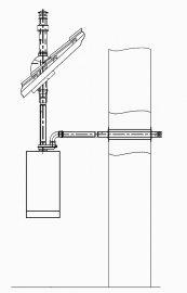 Параллельный выход через наружную стену (забор воздуха) и проход через кровлю (выброс продуктов сгорания)
